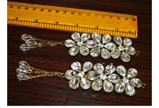 Golden hanging rhinestone embellishment accessories latkan dupatta tassel decorative tassles for wedding lehenga dress blouses