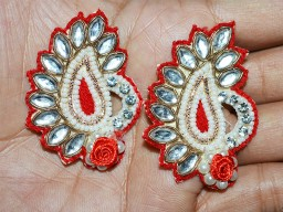 5 Red Paisley Handcrafted Appliques