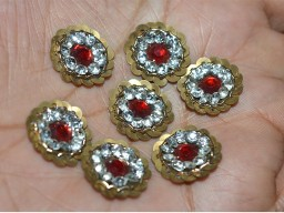Golden Round Red Rhinestone Embroidery Appliques