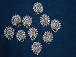 10 Golden Rhinestone Appliques Embroidery Appliques Beaded Bridal Appliques