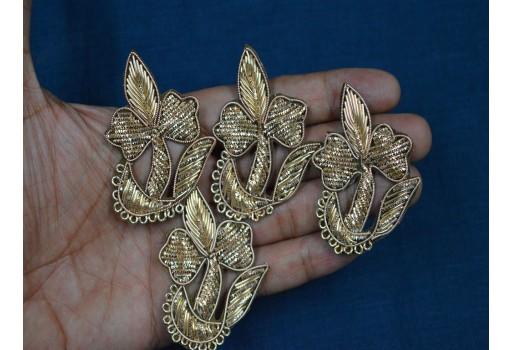 4 Piece Sewing Accessories Indian Patch Golden Appliques Dress Applique Bullion Applique Crafts Handcrafted Appliques
