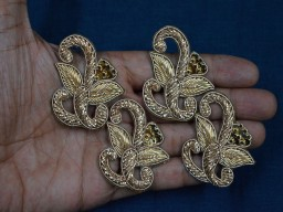 Decorative Golden Indian Embroidery Rhinestone Appliques