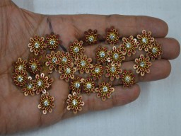 20 Tiny Flower shaped Indian Patches Rhinestone Golden Applique
