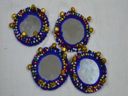 2 Handcrafted Applique Blue Applique Patches Beads Bells and Mirror Appliques
