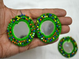 2 Handcrafted Green Applique Patches Beads Bells and Mirror Appliques Rhinestone Applique