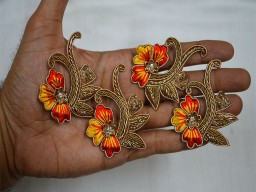 Floral Motif Design Appliques in Yellow