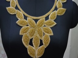 Beaded Neckline Patches Gold Round Collar Handcrafted Embroidered Applique
