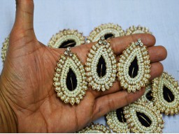 Black Indian Tear Drop Shape Rhinestone Embroidery Appliques