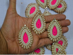 Golden Metallic Pink Embroidery Appliques