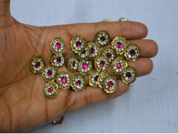 Golden Round Magenta Decorated Rhinestone Embroidery Appliques