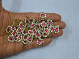 Magenta Handcrafted Beaded Paisley design Appliques