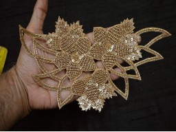 Paisley Indian Embroidery Rhinestone Applique Handmade Garment Accessories Beaded Bridal Dresses golden Appliques Crafting Sewing 50 Pieces Extremely Beautiful Small Applique For Decoration