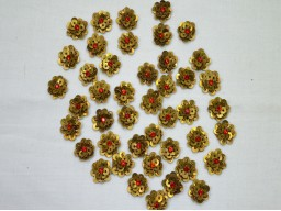 50 Red Tiny Flower shaped Golden Appliques