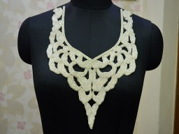 White Beads Neckline Patches Decorated Patch For Dresses