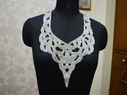 Handcrafted Collar Decorative Neck Patches Silver Neckline For Festive Wear