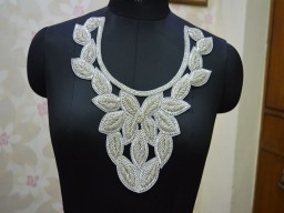 Silver Beads Indian Decorative Neck Patches Embroidered Applique For costumes