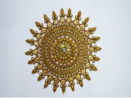 Gold Indian Patches Appliques Dresses Handmade Floral Thread Embroidered Applique