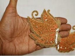 2 Pieces Peach Christmas Appliques Golden Decorative Appliques Handmade Patches
