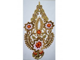 Gold floral design patches decorated silk thread work applique festive dresses handmade embroidered appliques decorative sewing patch crafting sewing accessories