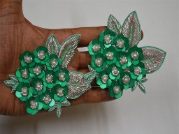 Floral Design Appliques Green Christmas applique Handmade Floral Sequences Patches For Dresses