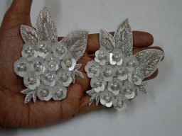 Silver Indian Patches Appliques Dresses Floral Thread Embroidered Applique For Purses
