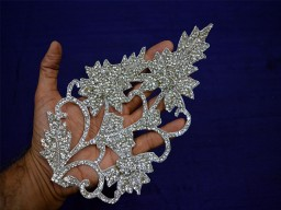 Silver Patches Zarkan Decorative Indian Handmade Exclusive Applique For Dresses
