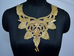 Handcrafted Patches Indian Embroidery Applique Clothing Acessories Decorated Neckline Patches Crafting Zardosi Gold Neck Patches exclusive metallic thread embroidered Neckline For Dresses