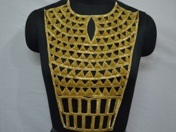 Gold Collar Handcrafted Neckline Patches Embroidered Applique Crafting  Decorated Indian Beaded Neck Patches with Sleeves Decorative Patch For Dress