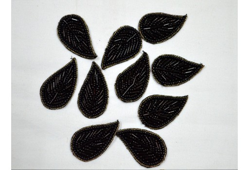 15 Piece Black Indian Beaded Patch Leaf Design Embroidery Handcrafted Appliques Crafting Embroidered Sew on Patch For Dresses