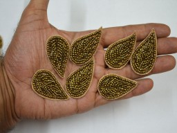 15 Antique Gold Indian Beaded Patch Embroidery Sew on Patch Decorative Denim Patches For Dresses Leaf Design E..