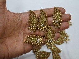 15 Pieces Sew on Patch Antique Gold Indian Beaded Embroidery Decorative Zari Applique Handmade Garment Accessories Embroidery HandCrafted Appliques