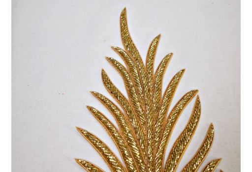 2 Antique Gold Beaded Decorative Handmade Patches for dance costume Leaf Indian Sewing beaded Dresses Handcrafted Patch wholesale Appliques Crafting Supply dresses Indian garments material