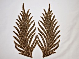 2 gold patches leaf decorative handmade embroidered indian sewing for wedding dresses handcrafted beaded patch..