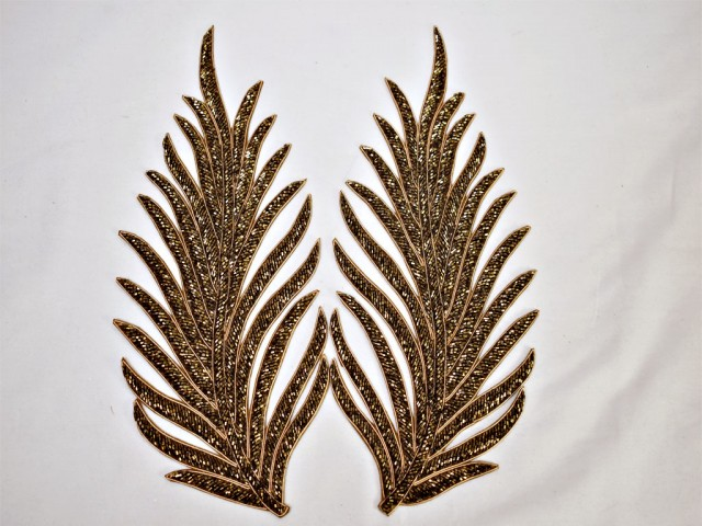 2 gold patches leaf decorative handmade embroidered indian sewing for wedding dresses handcrafted beaded patch crafting  supply  begs  extremely beautiful appliqué sew on denim wholesale beaded appliques