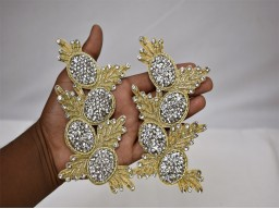 Wholesale Handmade Dull Gold Rhinestone Patches Decorative Dresses Christmas 1 pair Appliques Sewing Zircon Crystal Décor Crafting supply wedding dress applique