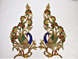 1 pair bridal dresses craft art work Exclusive Decorative Peacock  appliques and online star decor metallic beaded patches handcrafted crafting sewing appliques Indian beaded embellishments embroidery decorative appliques