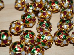 5 Meenakari pachi bead with gemstones