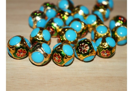 5 Enameled Jadau Brass Round Beads