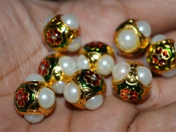 5 Enameled Jadau Brass Round Beads -