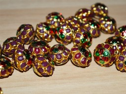 Meenakari pachi bead with gemstones