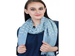 Indian Woolen Scarf Handmade Light Blue Polka Dot Print Pure Wool Winter Scarves Women Gift Mom Designer Woolen Stoles Girlfriend Christmas Birthday Bridesmaid Beautiful Accessories