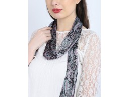Indian paisley print designer black fringes choker long skinny scarf by 1 pieces narrow necks stoles women's neck tie scarfs online beautiful stunning handmade soft and stylish wedding wear scarves