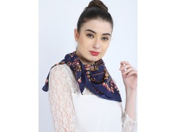 Blue color head wrap cowl neck wrap indian decorative floral printed bandana headscarf fashion accessory neck tie square scarf by 1 pieces christmas women scarves perfect gifting purpose for festive seasons