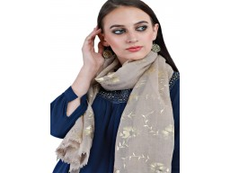 Grey And Gold Pure Wool Scarf Women Accessory Indian Floral Print Long Scarves Gift For Her Autumn Bridesmaid Evening Wrap Christmas Beautiful Stunning Birthday Winter Stole