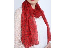 Indian red color dog and snow flakes printed scarf by 1 pieces online designer women fashion accessory scarves beautiful polyester gift mom girlfriend christmas birthday bohemian long evening shawls wrap for summer