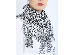 Black and white color animal printed head wrap cowl neck wrap indian rayon viscose bandana headscarf women accessory wholesale scarves online decorated designer christmas birthday square scarf for collage