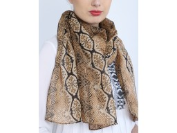 Indian christmas bohemian long scarf evening wrap online brown color animal printed scarf by 1 pieces women soft and stylish fashion accessory scarves decorative polyester wedding wear stole