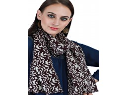 Indian Brown Pure Wool Beautiful Animal Printed Autumn Scarf Women Fashion Accessory Stunning Winter Scarves Soft And Stylish Stoles Handmade Woolen Muffler Woolen Cap For Ladies
