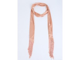 Indian peach fringes choker scarf long skinny narrow neck scarf by 1 pieces online fancy women's neck tie party wedding wear stoles bohemian bridesmaids evening shawls wraps beautiful unique gift for ladies