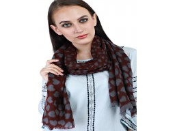Indian Dark Brown And Light Navy Blue Winter Scarves Autumn Printed Hearts Pure Wool Unique Gift For Ladies Handmade Woolen Muffler Bohomain Long Girlfriend Christmas Birthday Stoles Fashion Accessories